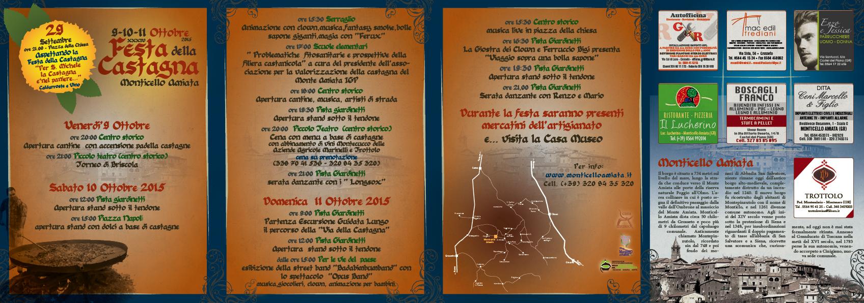 Il dépliant ufficiale della Festa della castagna 2015 di Monticello Amiata