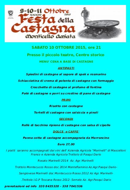 Il menu della cena a base di castagne