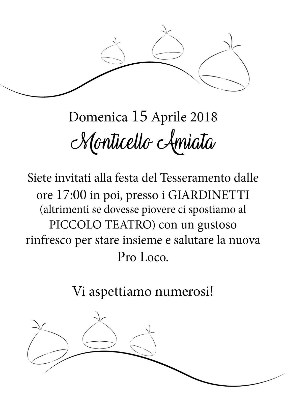 Volantino Festa del tesseramento 2018