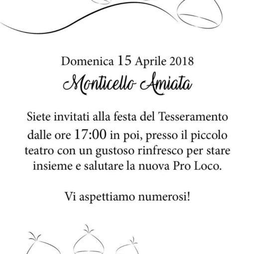 Volantino della Festa del tesseramento 2018