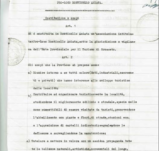 La prima pagina dell'Atto Costitutivo della Pro Loco di Monticello Amiata